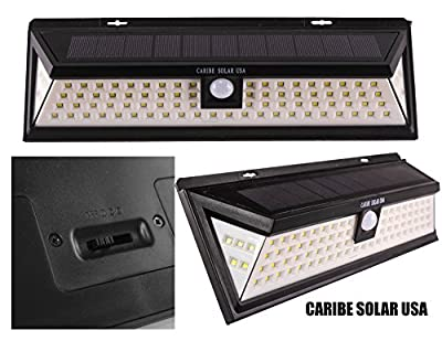 Solar Power Lights, Caribe Solar USA 86 LED Outdoor Motion Sensor Light for Outside Backyard Patio Deck or Porch Lighting at a