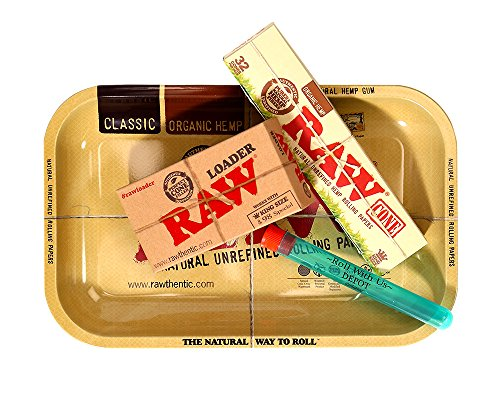 RAW Organic Pre-Rolled Cone 32 Pack King Size Combo Includes: RAW Rolling Papers Rolling Tray, RAW Organic 32 Pack of Cones, RAW Loader, Roll With Is Doobtube (small) by Roll With Us Depot