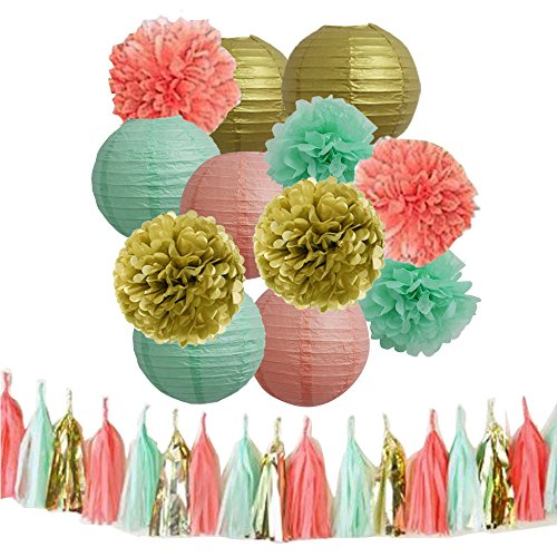 MRMSLI 15pcs Mixed Mint Green, Gold, Coral. Tissue Pom Poms Tassel Garland Paper Lanterns for Birthday Party Wedding Celebration Baby Shower Festival Decoration