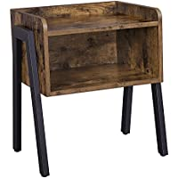 SONGMICS Vintage Side Table - Stackable Nightstand End Table, Coffee Table with Open Front Storage Compartment - Retro Rustic Chic Wood Look Accent Furniture with Metal Legs & Frame ULET54X