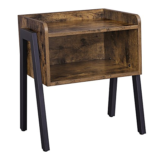 SONGMICS Industrial Nightstand, Stackable End Table, Cabinet for Storage, Side Table for Small Spaces, Wood Look Accent Furniture Metal Frame ULET54X