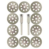 Diamond Cutting Wheel,SuperUS 10pcs with 402 Mandrel (3mm) 2pcs and Screwdriver for Dremel Rotary Tool (10PCS, Silver)