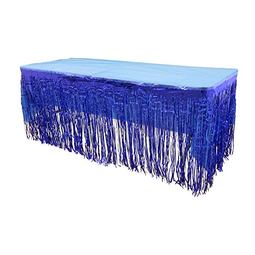 "MK Trading New! Set Of Blue Metallic Foil Fringe Table Skirt 30"" x 144"" With Blue Plastic Tablecover (54"" x 108"")"