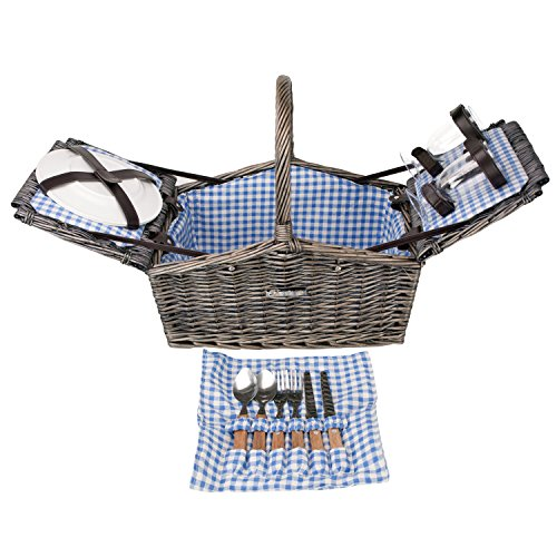 Zelancio Double Lid Picnic Wicker Basket for Two Persons, - Picnic Double Basket Lid