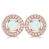 GULICX Halo Stud Opal Earrings Rose Gold Plated Round CZ Cubic Zirconia