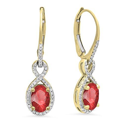 Gold Ruby Diamond Earrings (14K Yellow Gold Oval Ruby & Round White Diamond Ladies Infinity Dangling Earrings)