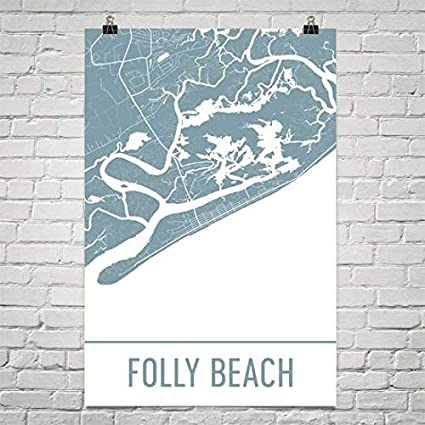 Amazon.com: Folly Beach Map, Folly Beach Art, Charleston Print ... on