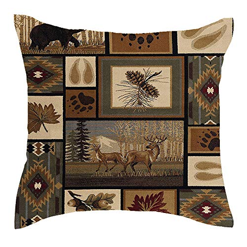 Jimrou Throw Pillow Cover 18x18inches Welcome to Cabin Elk Bear Paw Prints Hunting Wild Animals Retro Background Cotton Linen Decorative Home Sofa Chair Car Square Throw Pillow Case Cushion Cover ()