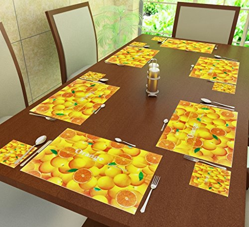 Home Candy PVC 6-Piece Placemat and 6-Piece Coaster Set – Orange