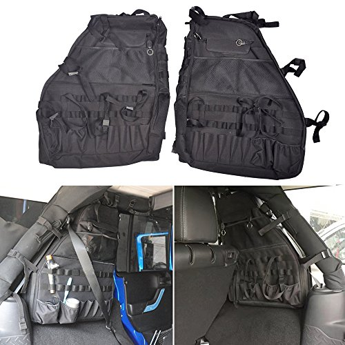Multi-Pockets Storage & Organizers & Cargo Bag Saddlebag, Tool Kits Bottle Drink Phone Tissue Gadget Holder for 2007~2016 Jeep Wrangler JK 4-door (Pair) (Saddlebag Tool Kit)