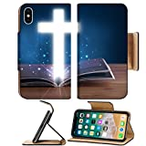 chili bible - Luxlady Premium Apple iPhone X Flip Pu Leather Wallet Case IMAGE ID: 22653639 Open holy bible with glowing cross in the middle on wooden deck