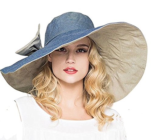 (Women's Reversible Sun Hat with Chin Strap Big Bowknot Floppy Wide Brim Packable Sun Protection Hat Travel Beach Cap Visor UPF50+)