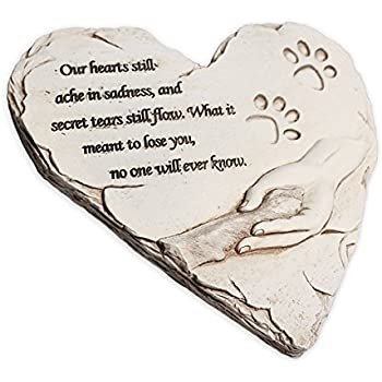 Dog Memorial Stone, Hand-printed heart-shaped personalized loss of pet gifts dog with sympathy poem and paw in hand design, meaningful dog memorial stepping stones for outdoor. JHB (White)