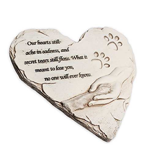 Personalized Garden Markers (Dog Memorial Stone, Hand-printed heart-shaped personalized loss of pet gifts dog with sympathy poem and paw in hand design, meaningful dog memorial stepping stones for outdoor. JHB (White))