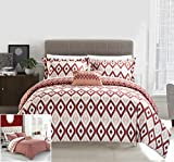 Difference Between Cal King and King Bed Chic Home 4 Piece Normani Reversible Ikat diamond and contemporary geometric pattern print technique Queen Duvet Cover Set Brick