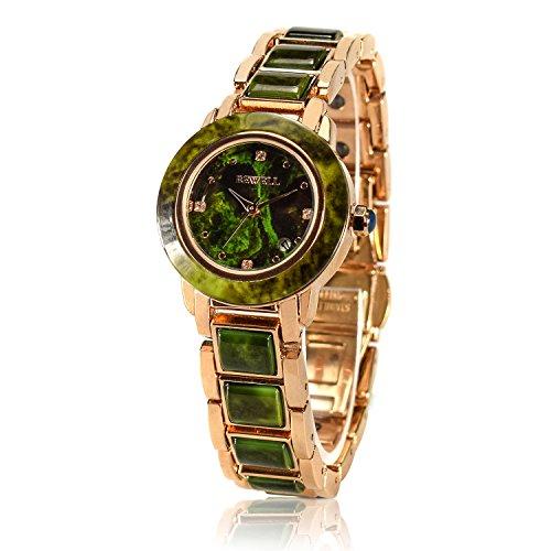 - BEWELL Green Jade Stone Jewelry Watch for Women Luxury Quartz Analog Movement Calendar Wrist Watches (Emerald Green)