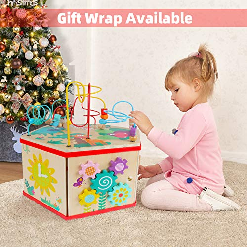 TOP BRIGHT Wooden Activity Cube for Toddlers, Activity ...
