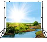Natural Photography Backdrops 6FTx6FT Beautiful Natural Scenery Sunshine Background for Holiday Party Video Studio Props or YouTube Background Props ST660001