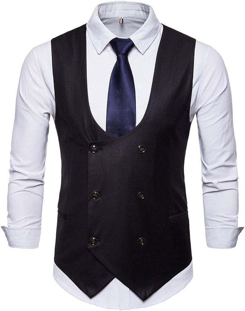 Oncefirst Mens Suit Vest Slim Fit U-Neck Double Breasted Business Dress Vest