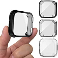 3PCS Protective Case Compatible Versa Smart Watch, AFUNTA Soft TPU Screen Protector All-Around Bumper Protective Shell…