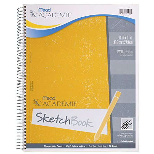 Mead Académie Spiral Sketchbook / Sketch Pad, Heavyweight Paper, 70 Sheets, 14 x 11 Inch Sheet Size (54400)