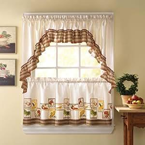 Cocina Kitchen Curtains Ruffled Swag Home Kitchen