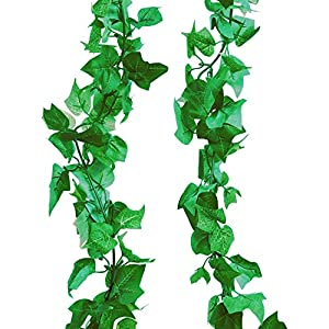 A-Decor 84 ft-12 Pack Artificial Ivy Vine Hanging Garland Fake Foliage Flowers Leaf Plants Home Garden Greenery Life-Like English Poison Ivy Wedding Party Strands Indoor Outdoor Wall Decor, Green 75