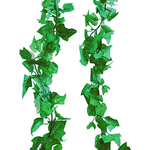 A-Decor 84 ft-12 Pack Artificial Ivy Vine Hanging Garland Fake Foliage Flowers Leaf Plants Home Garden Greenery Life-Like English Poison Ivy Wedding Party Strands Indoor Outdoor Wall Decor, Green ()