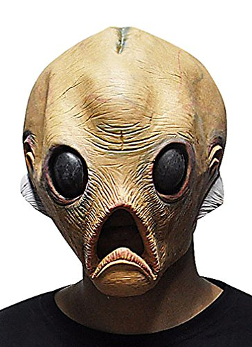 Maze Scarry Fishlike Alien Head With Brain Protruding Full Face Silicone Mask, 1- One Size