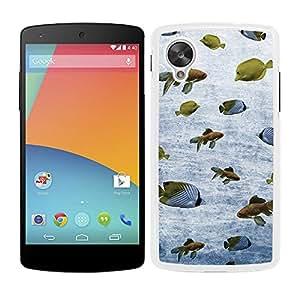 Funda carcasa para LG Nexus 5 diseño estampado vintage peces de mar y río borde blanco