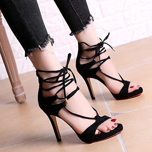 Súper Correa zapatos de tacón alto con un fino sandalias impermeables de Taiwán Roma Discoteca Femenino Black