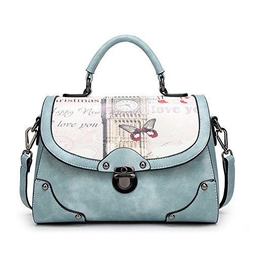 Top Retro Handbags Pattern Shoulder Messenger Womens Hobos Bags Blue Totes Shop Satchels rZgEwqr