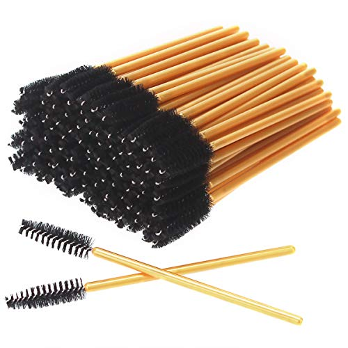 AKStore 100 PCS Disposable Eyelash Brushes Mascara Wands Eye Lash Eyebrow Applicator Cosmetic Makeup Brush Tool Kits (Gold-Black)