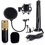 ميكروفون تسجيل صوت بمكثف احترافي مع حامل للميكروفون للبث الاذاعي والغناء - اسود BM 800