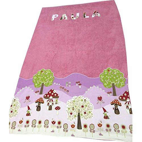 toalla playa nomos rosa con nombre