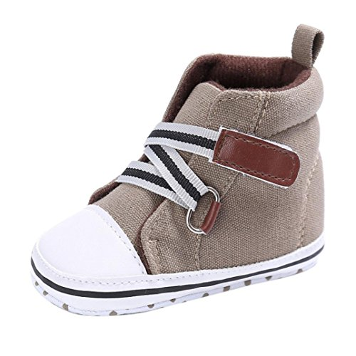 OverDose Baby Sneakers, Baby-Jungen-Mädchen-Neugeborene Krippe-Baumwolltuch-Weiche Alleinige Schuh-Turnschuh-Schuhe Khaki