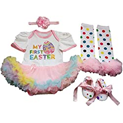 17b2269cd650 AISHIONY Baby Girl My 1st Easter Tutu Costume Outfit Newborn Party Dress  4PCS XL