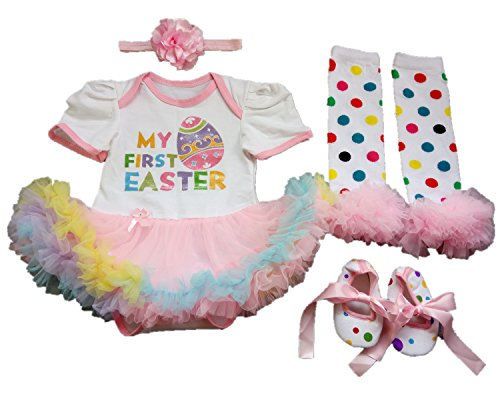 AISHIONY Baby Girl My 1st Easter Tutu Costume Outfit Newborn Party Dress 4PCS -