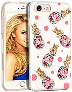 WORLDMOM Case for iPhone 6/ 6s Plus Pineapple Design Double Layer Hybrid Hard PC Soft TPU Shock Absorption Technology Bumper Phone Case Cover for iPhone 6 Plus/6s Plus, White