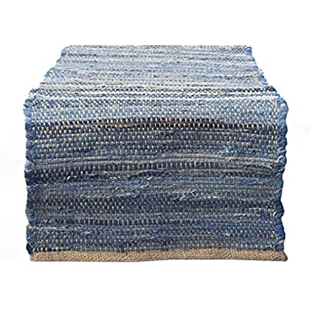 Chardin home Eco Friendly Recycled Denim/Jute Table Runner, size: 14