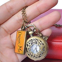 Vintage Drink Me Pocket Watch, Hmxpls Quartz Watch With Cute Rabbit