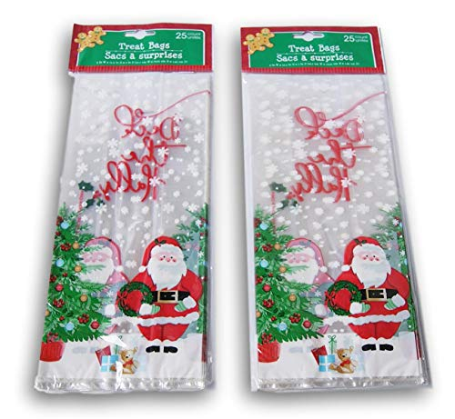 Christmas Santa Claus Loot Treat Bags - 50 Pack