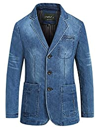 Yeokou Men's Casual Slim Button Down Lapel Collar Denim Blazer Sport Coats
