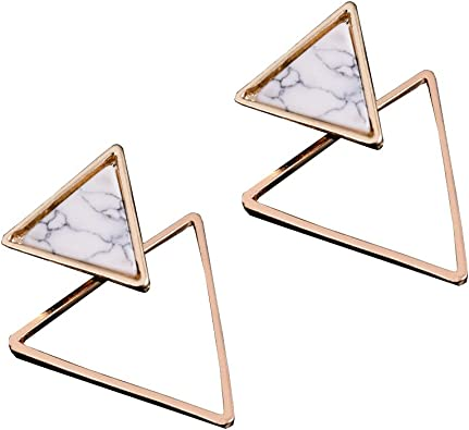 2 Pairs Minimalist Geometric Double Triangle Stud Earrings Hollow Circle Round Stud Earrings Gold Jewelry For Women