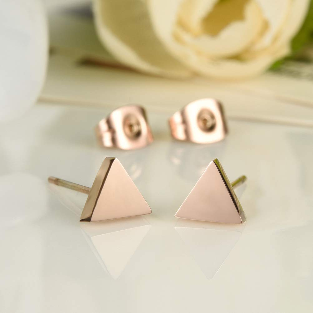 Wonlines Fashion Rose Gold Stainless Steel Triangle Stud Earrings