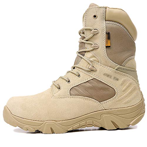 Mens Desert Military Combat Boot Delta Special Forces Security Shoes Army Armed Tactics Boots Outdoor Mountaineering Hiking Shoe,Beige,43