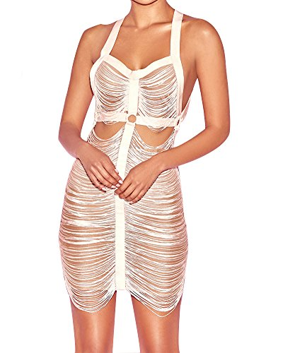 Sheer Mesh See Through Low Open Back Fringed Strappy Tassel Bandage Dress Night Party Size L (Nude) ()