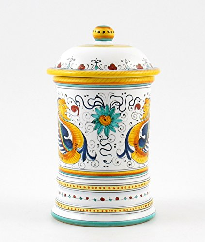 Hand Painted Italian Ceramic 8.7-inch Shaped Canister Raffaellesco - Handmade in Deruta by Fima