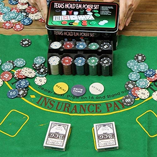 TrAdE Shop Traesio- Juego Estuche Poker Texas Holdem fichas Chips Profesional Caja de Lata: Amazon.es: Electrónica