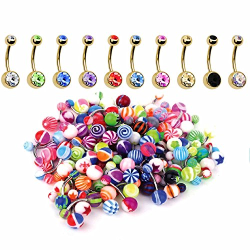 BodyJ4You 60PC Belly Button Ring Set 14G Mix CZ Goldtone Steel Acrylic Banana Body Piercing Jewelry